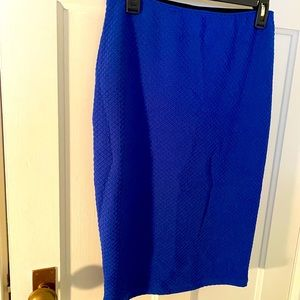 Stretchy, textured electric blue skirt